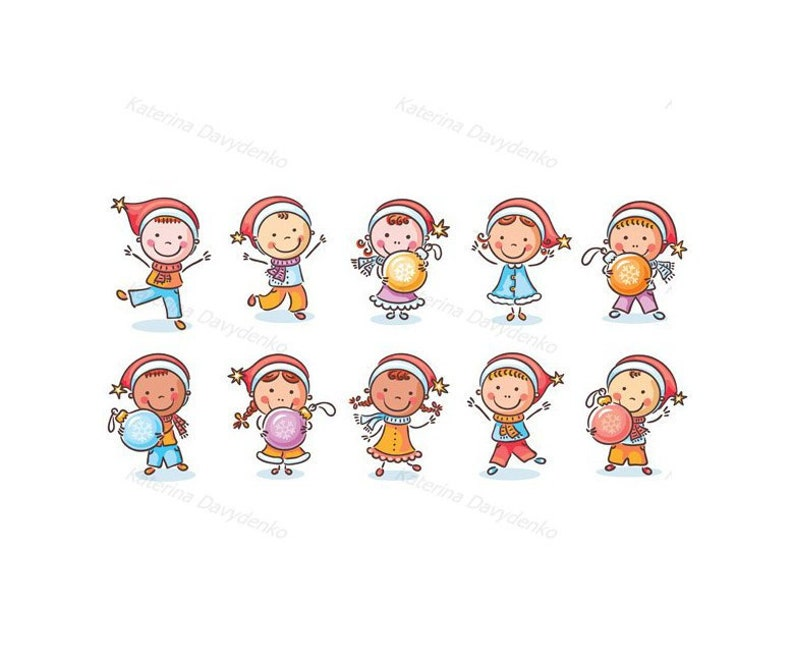 Set Of Cartoon Kids In Santa Hats And With Christmas Ornaments Children Clipart Happy Kids Clip Art Doodle Clipart