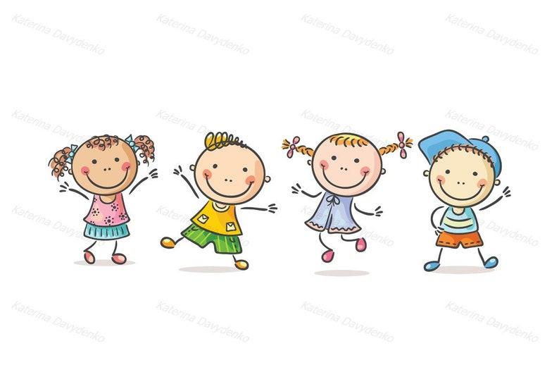 Enfants Heureux Ou La Quatre Bande SvgDe En SautantClipart EnfantsClipartHeureuxDoodle Dansant Dessinée tQsrdhC
