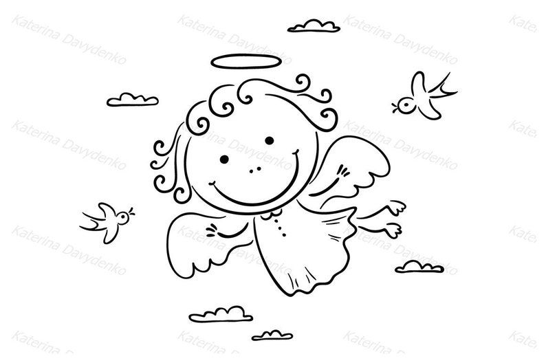 Cute Angel Flying With Two Birds Angel Clipart Baby Clipart
