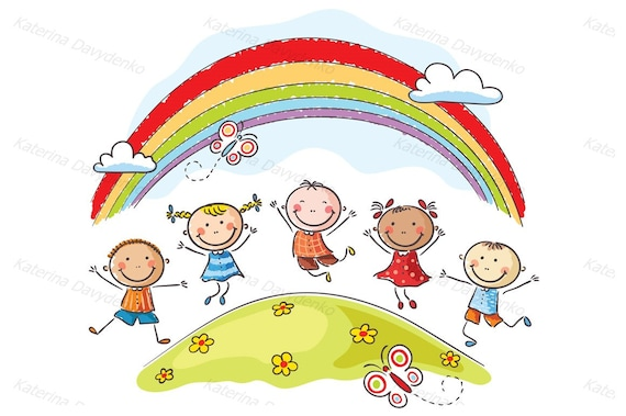 Kids jumping with joy on a hill underneath a rainbow  Kids clipart, kids  svg, children clipart