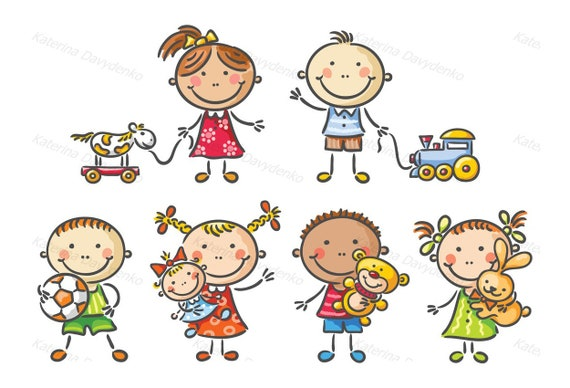 Little Kids Holding Their Toys Little Kids Clipart Kids Etsy