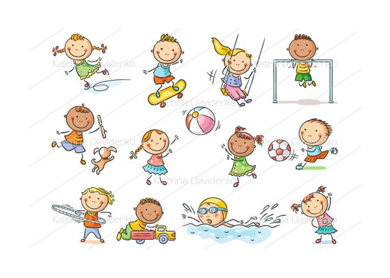 Set of cartoon kids outdoor activities, sports and games. kids playing illustration, kids clipart, doodle svg, clipart, kids svg, image svg