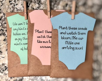 Let Love Bloom SEEDS INCLUDED Handstamped rustic baby shower favor/gift boy or girl. Color options available.  Free shipping