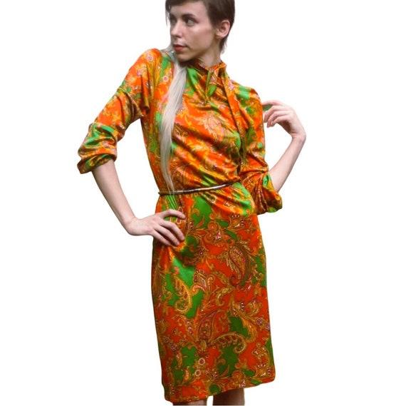 1970s Mod Paisley Print Bright Orange Shift Dress