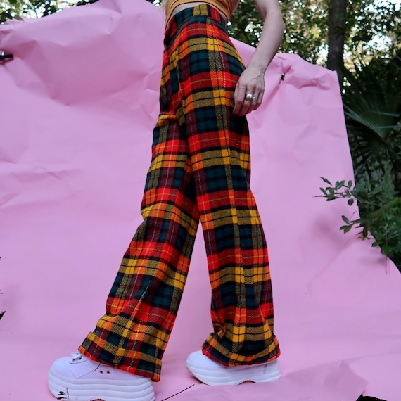 60s - 70s Wool Plaid Bell Bottoms /  Wide Leg pant