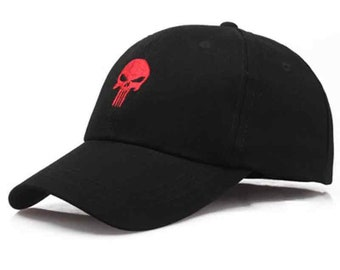 Dad Hat - Punisher  Hat in In Black (Summer Baseball Cap - Skull  Dad Hat/Dad Cap - Summer Hat)