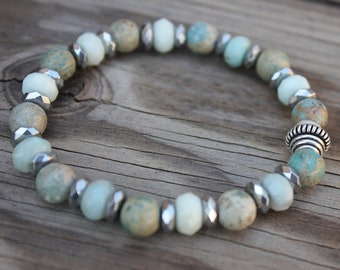 Amazonite, aqua terra jasper, hematite and silver bead bracelet