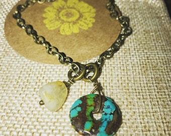Turquoise & Citrine chain link bracelet