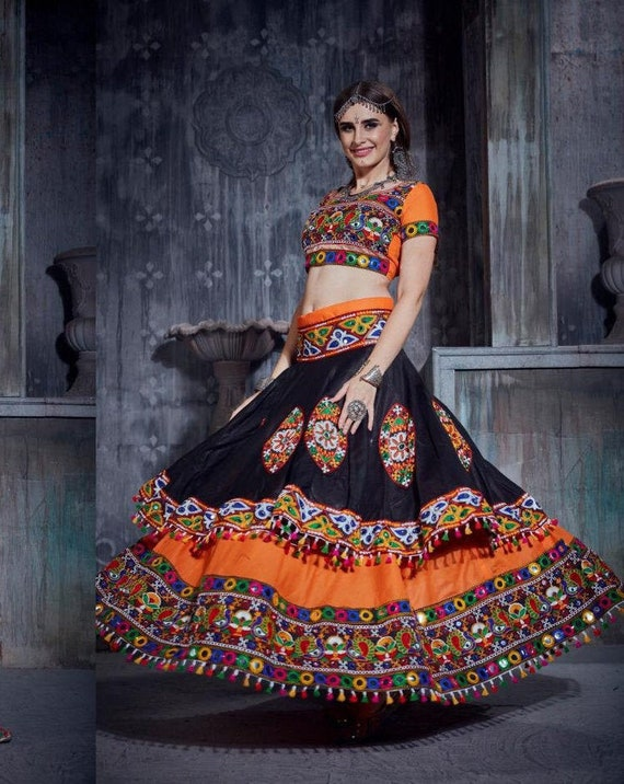 Indian Dandiya dress banjara skirt lehenga embroidered with sequins work Navratari garba dress