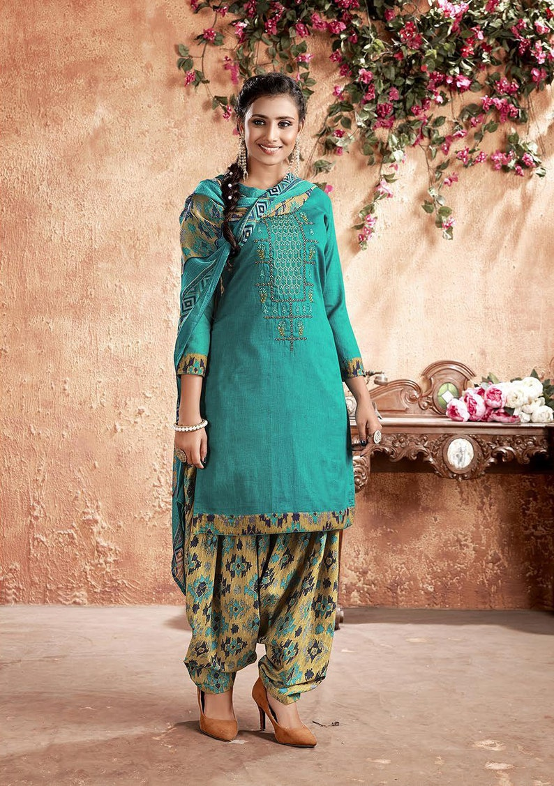 Indian Women Combo of 2 Hand Work Unstitched Salwar Kameez Traditional Embroidered Designer Bollywood Wedding Festival Material.