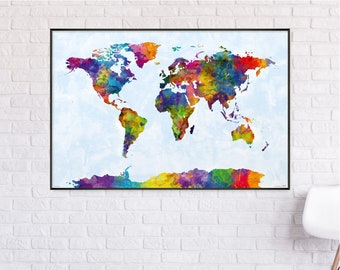 Watercolor world map xxl poster 140x 100 cm by michael etsy watercolor world map poster 915 x 61 cm gumiabroncs Choice Image