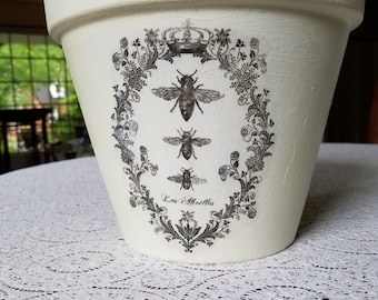 """10"""" Hand Decorated French Flower Pot"""