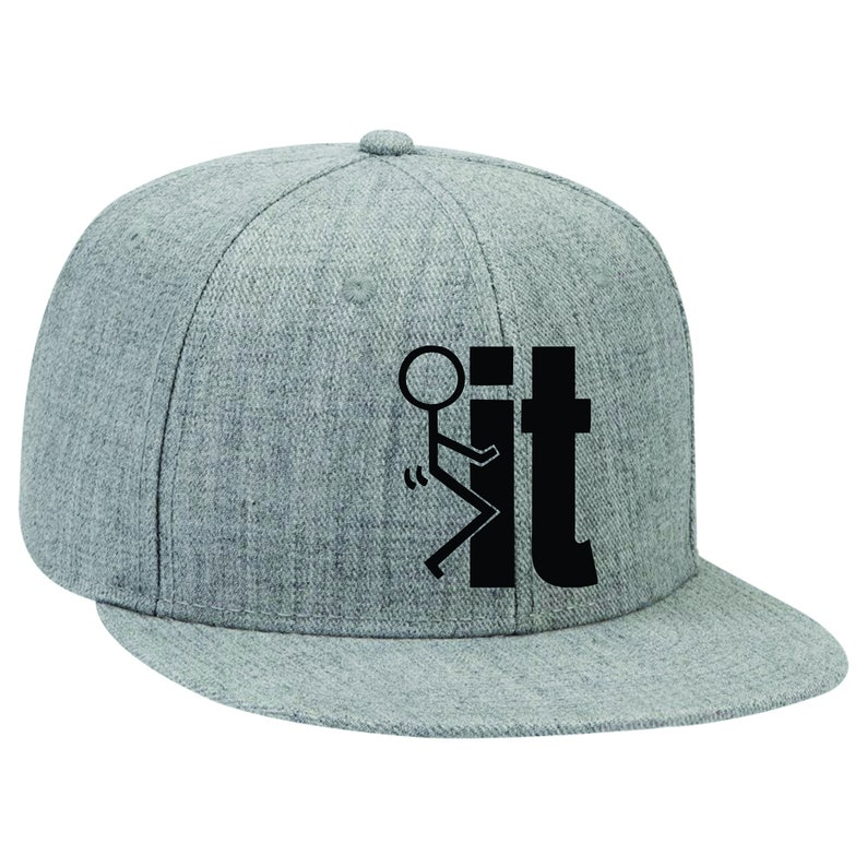 64ae77cd428 Fuck It Flatbill Hat Funny Baseball Cap Custom Embroidery
