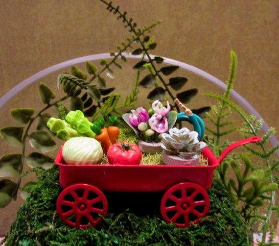Beau Fairy Garden Little Red Garden Wagon | Etsy