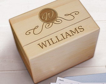 Engraved Family Wood Recipe Box -pgs85109433