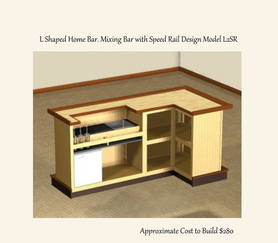 Easy Plans to Build a 4 x 8 foot L Shaped Home Bar. Mixing Bar   Etsy