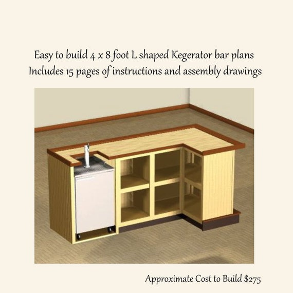 Easy to Build 4 x 8 foot L Shaped Home Bar Plans. Kegerator | Etsy