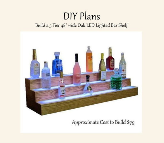 Plans To Build An Led Lighted 3 Tier Oak Home Bar Liquor