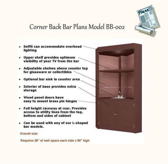 Classic corner back bar plans Model BB-002   Etsy