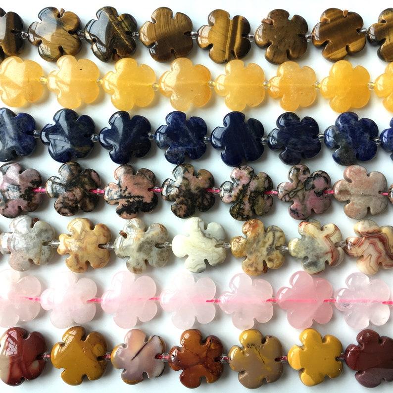 Yellow Tiger Eyes Flower Natural Gemstone Bead 20x20mm 15/'/'L