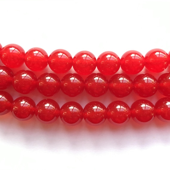 Natural 8mm 10mm 12mm Round Red Jade Beads Gems Necklace 36/'/' AAA
