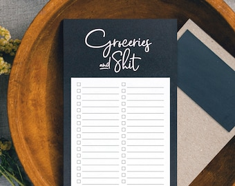 PRINTED Grocery List Magnet Pad for Fridge, Groceries and Shit Funny Tear off Notepad for Refrigerator, Unique, 4.5 x 7.5 inches, 50 Sheets