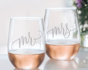 7cbcb19e8f2e Mr and Mrs Wine Glasses - 20oz Etched Stemless Wine Glass