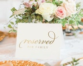 REAL GOLD Foil Reserved Signs for Wedding, 4x6 Reserved Table Cards, Seating Cards, For Framing, Chairs, Church Pews, Tables, 10 Pack