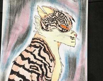 Traditonal Cat Art / Warrior cat / Old Tigerclaw drawing