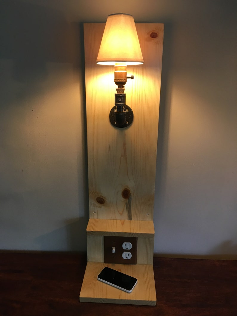 Floating Nightstand With Light Steampunk Charging Station