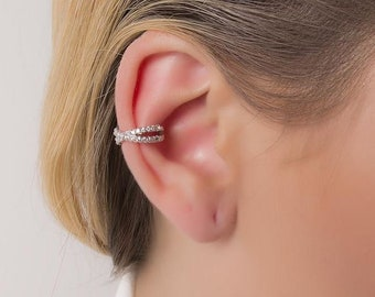 CZ Pave Double Band Ear Cuff