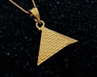 Large Egyptian Pyramid Necklace, 14k Gold Vermeil Over Sterling Silver, Giza Pyramid Pendant, The Great Pyramid Jewelry