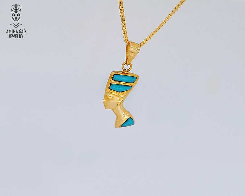 Egyptian Necklace. 14k Gold Vermeil Over Sterling Silver with Blue and Turquoise Enamel Small Double sided Gold Nefertiti Necklace