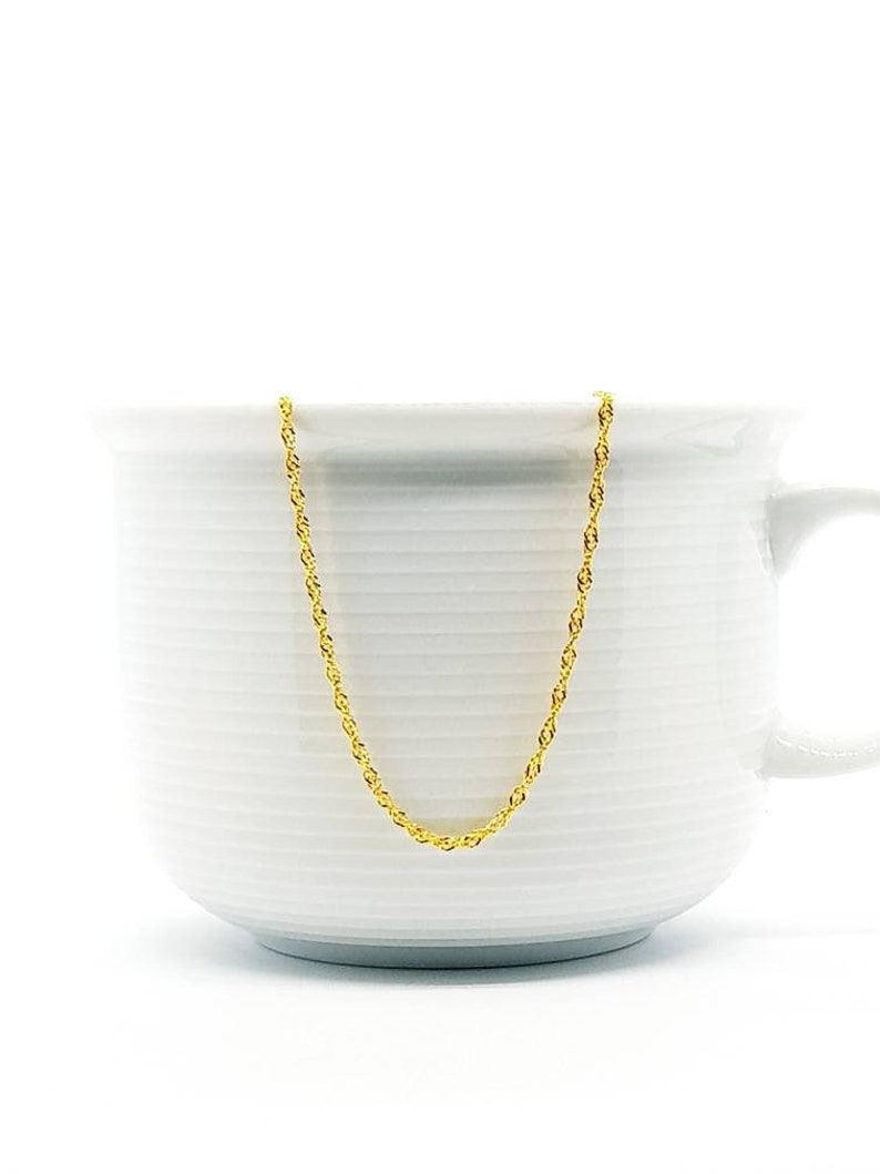 14k Gold Finish Over Sterling Silver Singapore Chains 16 or 18 inch Chain with Clasp