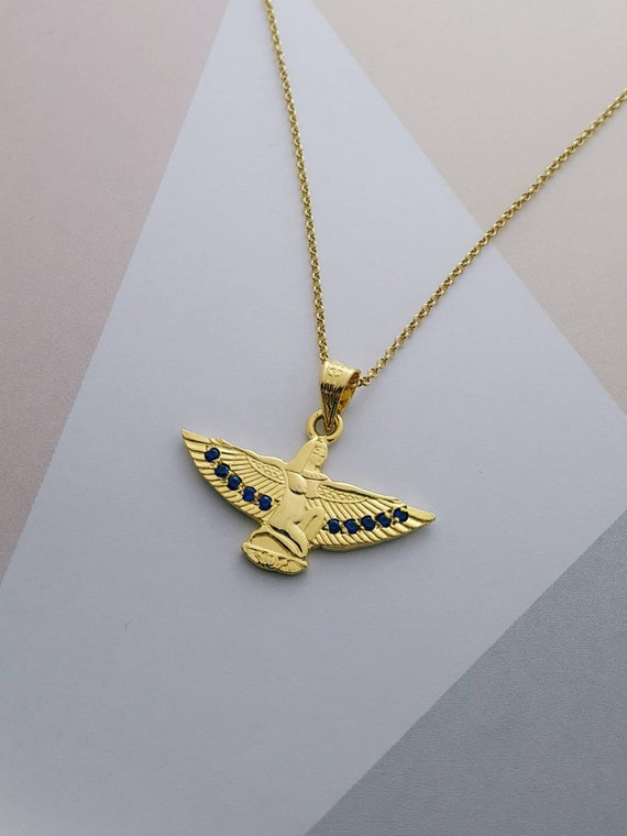 Large Isis Gold Necklace 14k Gold Vermeil Over Sterling Silver /& Red Ruby Handmade Egyptian Goddess Isis Pendant.