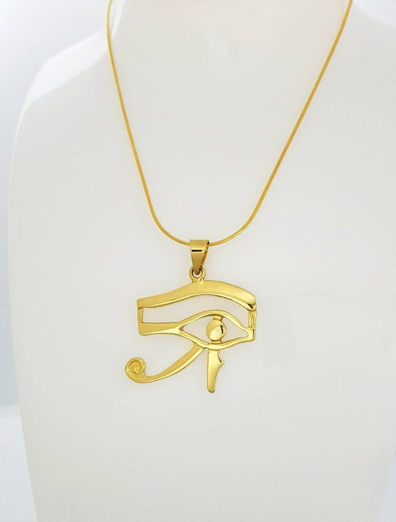 14k Gold Vermeil Over Sterling Silver Eye Necklace Medium Eye of Horus Gold Necklace Egyptian Jewelry