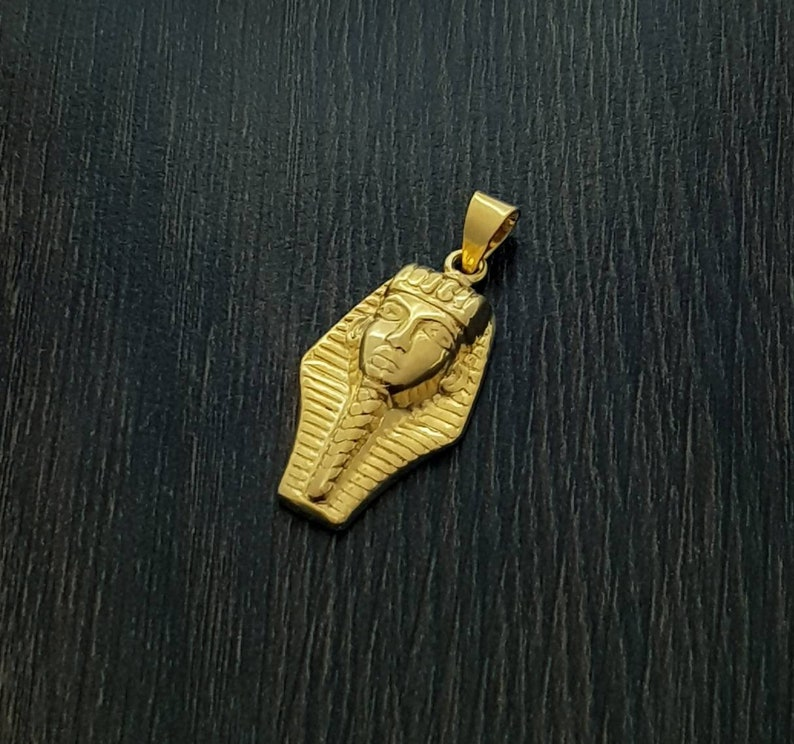 Tutankhamun Egyptian Necklace King Tut Royal Mask Gold Necklace 14k Gold over Sterling Silver Tut Necklace