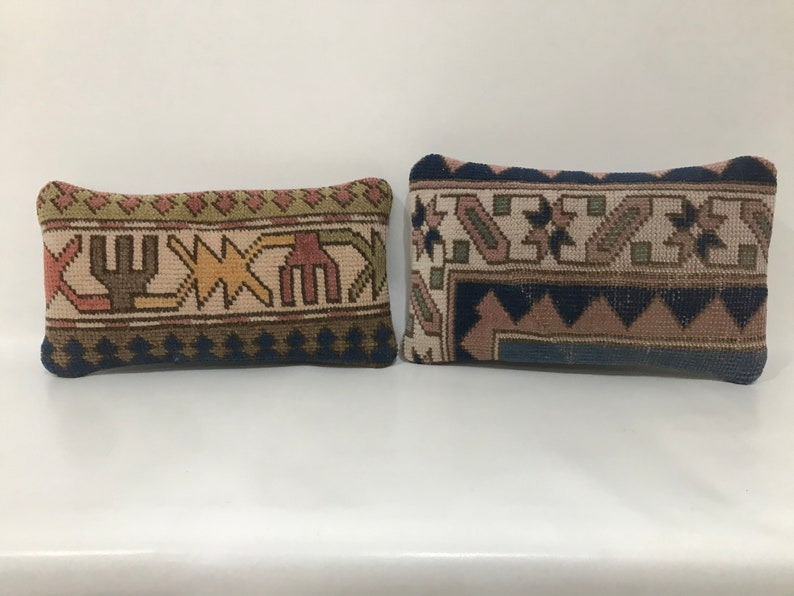 Small Pillow Cover Handmade Two Old Carpet Pillow Cover Turkish Pillow Cover