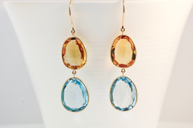818ee50da39 Isabel Citrine and Blue Topaz Dangle Handcrafted Earrings 18K Yellow Gold  AER9010