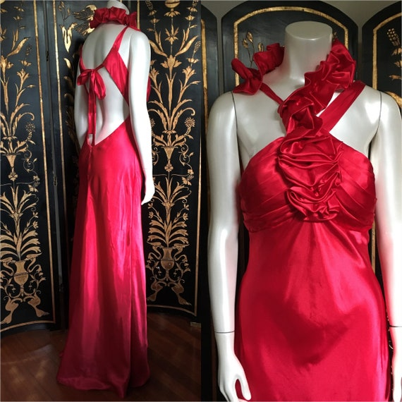 80's Liquid Satin Gown Dress With Open Back
