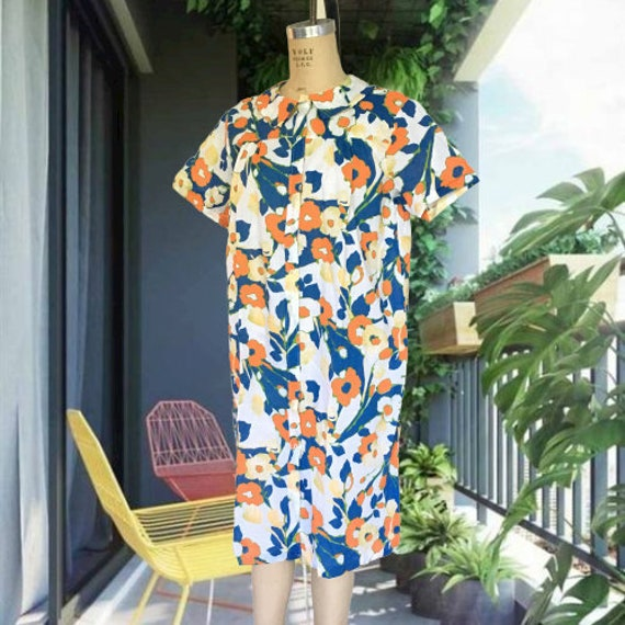 70's Sears Perma Prest Housedress Bright Floral Ro