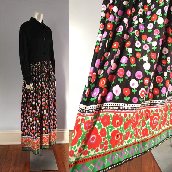70's Bright Floral Maxi Hostess Dress