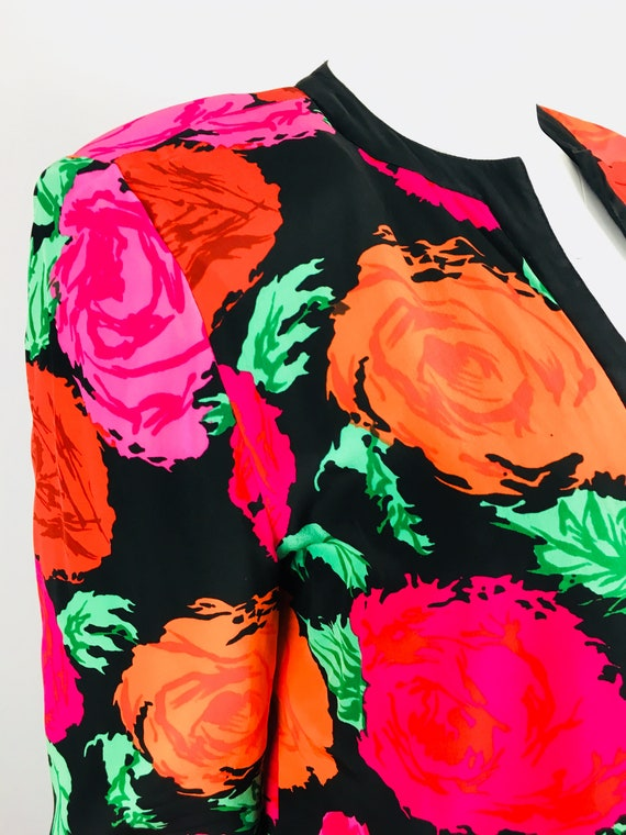 80's VTG FLORA KUNG Reversible Rose Print Cropped… - image 6