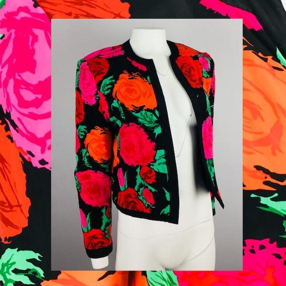 80's VTG FLORA KUNG Reversible Rose Print Cropped