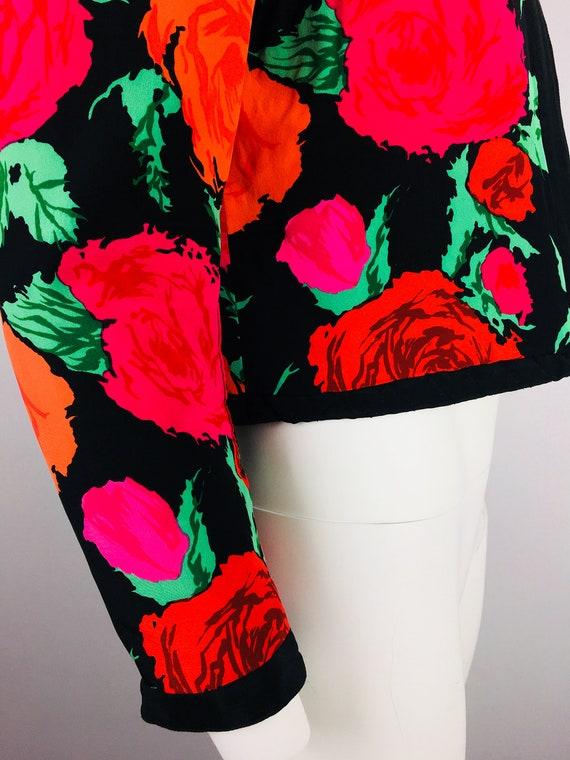 80's VTG FLORA KUNG Reversible Rose Print Cropped… - image 5
