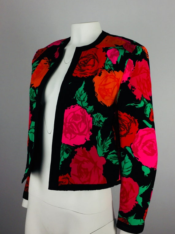 80's VTG FLORA KUNG Reversible Rose Print Cropped… - image 2