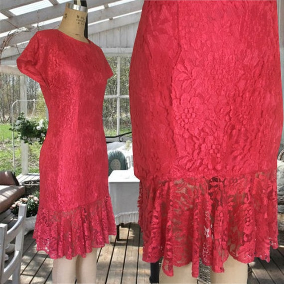 80's Vintage Lace Overlay Sheath Dress Small