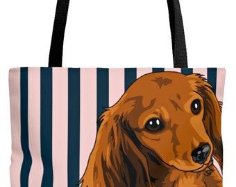 Barking Dachshund Studio Pouch Clutch Handbag Accessory Unique Bag Purse Black White Typography Humorous Logic Doxie Funny Monochrome Dog