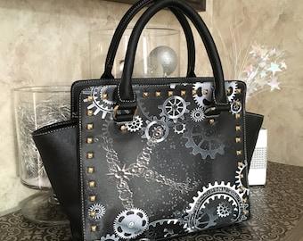Gears in Motion ∙ Steampunk Bag ∙ Metallic Handbag ∙ Metallic Metals ∙ Gears and Gadets ∙ Vegan Leather ∙ Crossbody Bag ∙ Monogram Bag