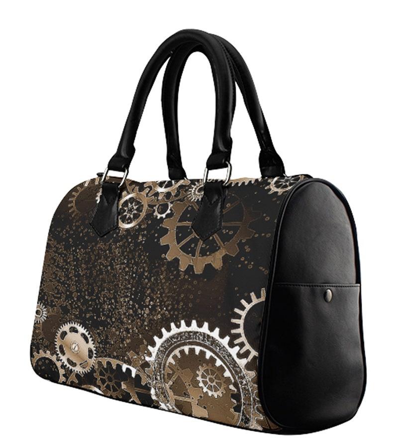 Metallic Satchel Handbag \u2219 Gears in Motion \u2219 Tote Bag \u2219 Vegan Leather Bag \u2219 Mongram Bags \u2219 Luxury bag \u2219 Barrel Style Bag \u2219 Doctor Bag \u2219Purse